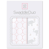 Swaddle Designs - Комплект пеленок Elephant & Chickies Mod Duo розовый Арт.SD-474PP