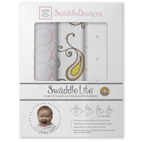 Swaddle Designs Набор пеленок 3 шт. Lite Paisley Pink тонкие Marquisette Арт.SD-444P