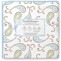 Swaddle Designs. Пеленка Paisley Pstl Blue фланель Арт.SD-120PB