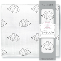 Swaddle Designs. Пеленка муслиновая Hedgehog Black тонкая Арт.SDM-163BK-HH