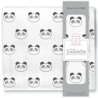 Swaddle Designs. Пеленка муслиновая Panda Face Black тонкая Арт.SDM-157BK
