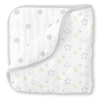 Swaddle Designs Лёгкое муслиновое покрывало-одеялко Luxe Muslin Little Ships Sterling Арт.SDM-350ST
