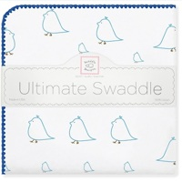 Swaddle Designs. Пеленка Chickies Blue фланель Арт.SD-162B