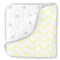 Swaddle Designs Легкое муслиновое одеяло-покрывало-пеленка Luxe Muslin Pale Yellow Chevron Арт.SDM-351PY