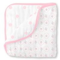 Swaddle Designs Легкое муслиновое одеяло-покрывало-пеленка Luxe Muslin Pink Posies Арт.SDM-357PP