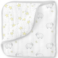 Swaddle Designs Легкое муслиновое одеяло Little Lambs Twinkle Sterling Арт.SDM-362ST
