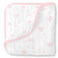 Swaddle Designs Легкое муслиновое одеяло Little Ships Pink Арт.SDM-350PP